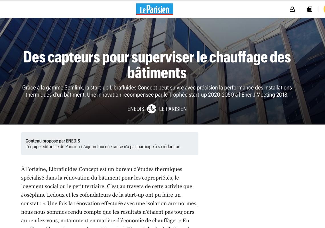 Le Parisien parle de Librafluides Concept